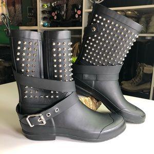 Burberry Holloway Black Studded Rain Boots Size 37